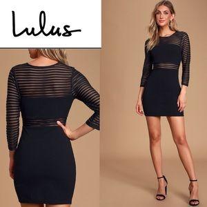 Lulu's Perfect Mesh Black Bodycon stripes Dress M